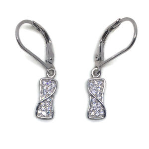 white gold on silver dangle drop earring artistic